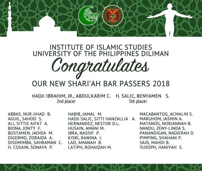 SHARIA BAR PASSERS 2018
